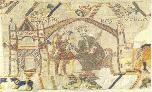 A scene from the tapestry of Bayeux.