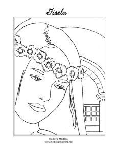 Download a sketch of Gisela to color