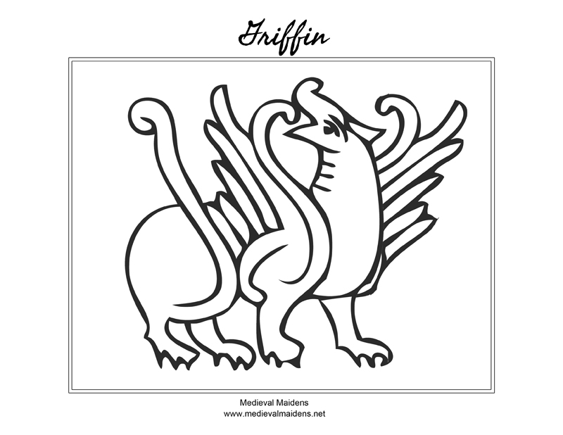 Download a sketch of a Griffin to color