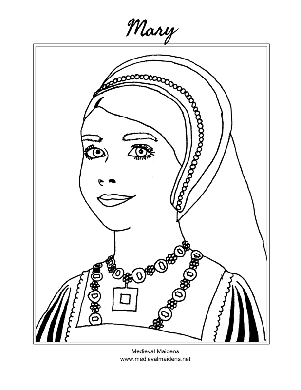 Download a sketch of Mary to color