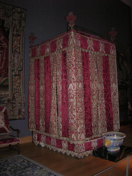 A bed like Mary might have slept in. This bed is part of the Renaissance exhibit at the Louvre Museum in Paris, France.